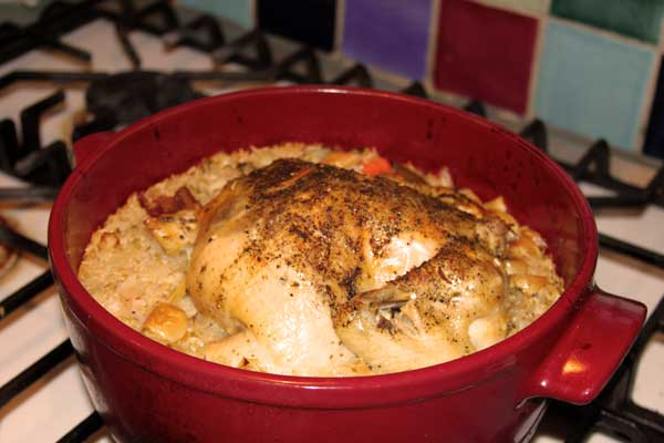 One pot meal: chicken-garlic-rice