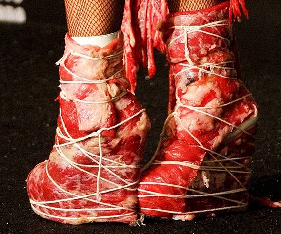 Lady Gaga in Franc Fernandez meat shoes at the Video Music Awards. Photo: Getty Images