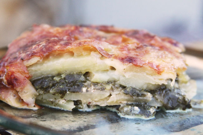 Au gratin potatoes with spinach and gruyere