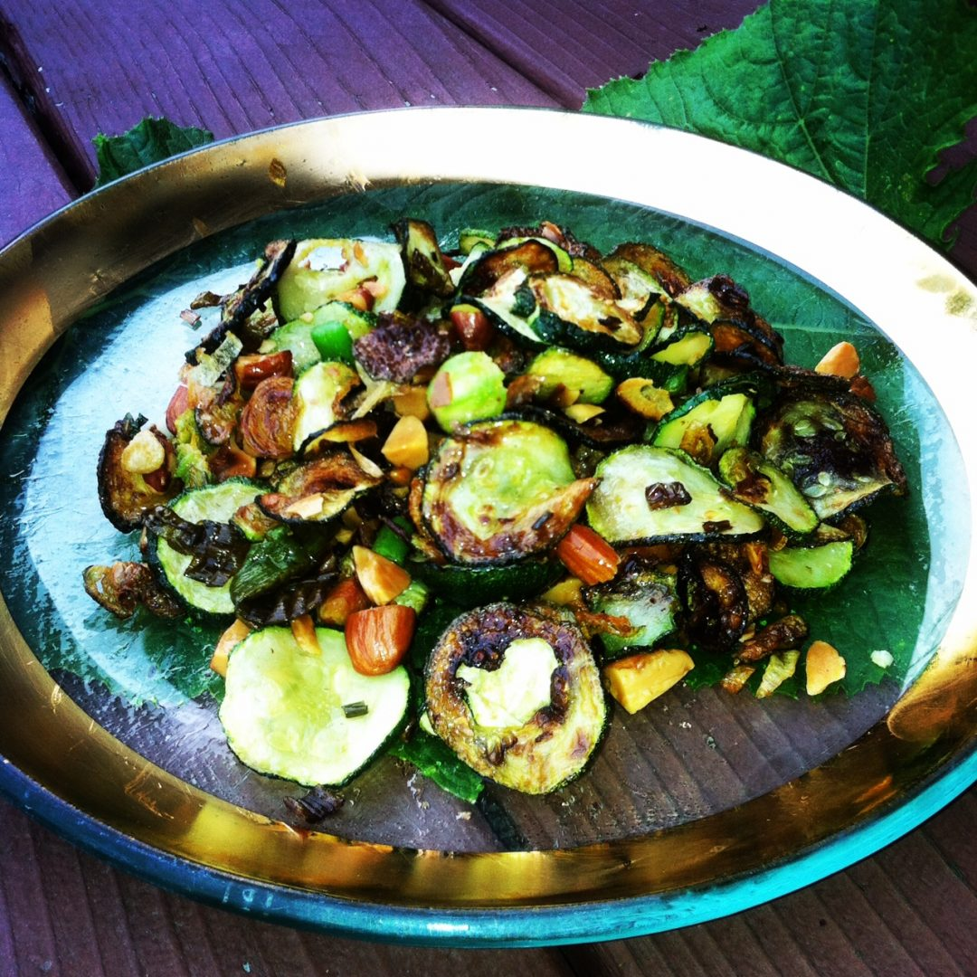 "Balsamic zucchini ""chips"" with garlic and almonds"